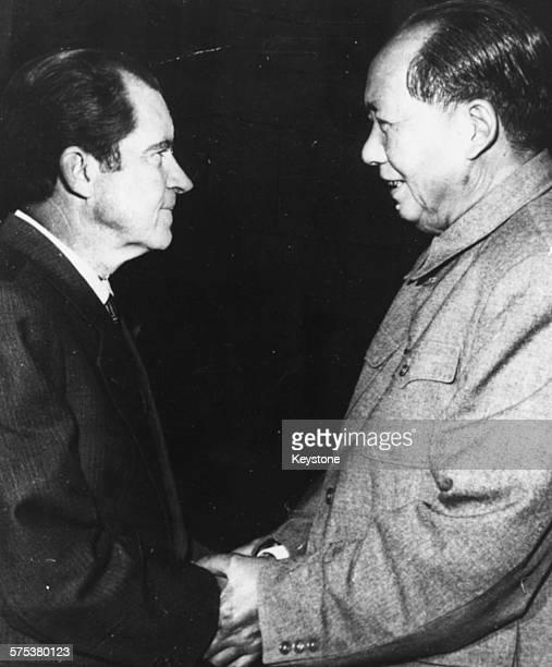 Chairman Mao TseTung of China shaking hands with US President Richard Nixon February 22nd 1972