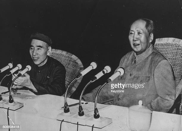 Chairman Mao Zedong , President of the People's Republic of China, with Vice President Lin Biao at a press Conference in Peking, circa 1970.