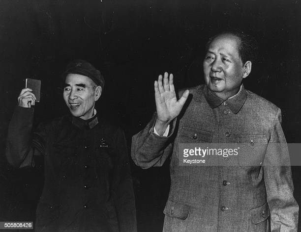 Chairman Mao Zedong , President of the People's Republic of China, with Vice President Lin Biao leaving a press Conference in Peking, September 22nd...