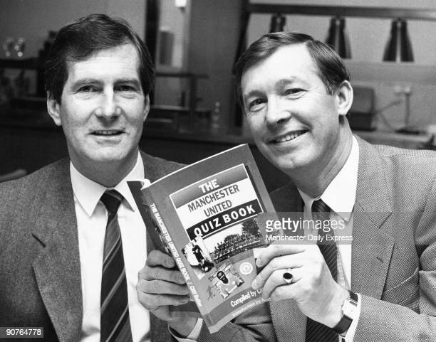 Chairman Martin Edwards and manager Alex Ferguson at the launch of the new Manchester United quiz book by Cliff Butler Scottish footballer Ferguson...
