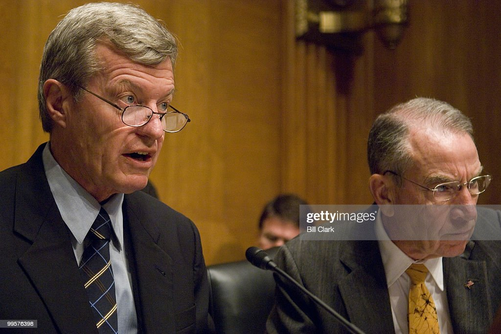 Chairman Max Baucus, D-Mont., makes an opening statement as Sen. Chuck Grassley, R-Iowa, listens during the Senate Finance Committee hearing on U.S.-Peru Free Trade on Tuesday, Sept. 11, 2007.