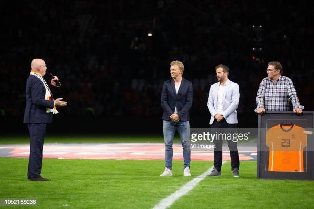Chairman Michael van Praag, Dirk Kuyt, Rafael van der Vaart, Willem van Hanegem during the UEFA Nations League A group 1 qualifying match between The...