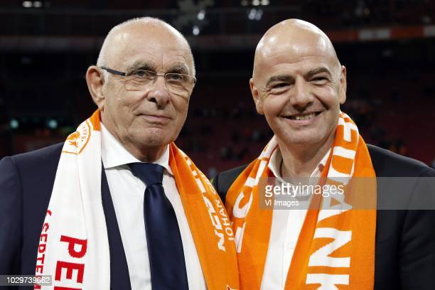 Chairman Michael van Praag, FIFA president Gianni Infantino during the International friendly match match between The Netherlands and Peru at the...