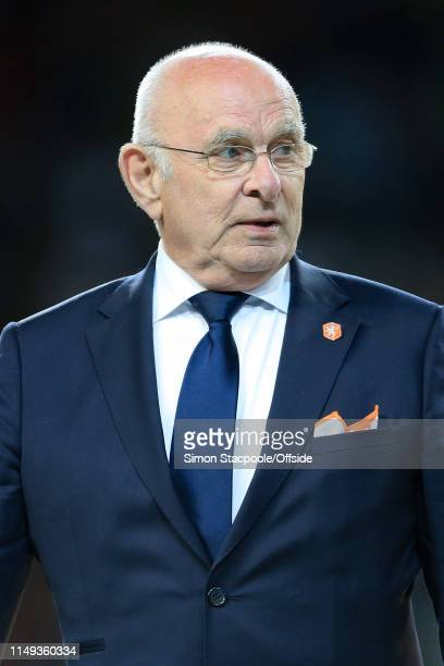 Chairman Michael van Praag looks on during the medal ceremony after the UEFA Nations League Final between Portugal and the Netherlands at Estadio do...