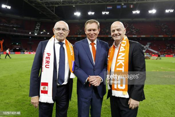 Chairman Michael van Praag, Minister for Medical Care and Sport Bruno Bruins, FIFA president Gianni Infantino during the International friendly match...