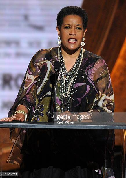 Chairman Myrlie EversWilliams speaks onstage during the 41st NAACP Image awards held at The Shrine Auditorium on February 26 2010 in Los Angeles...