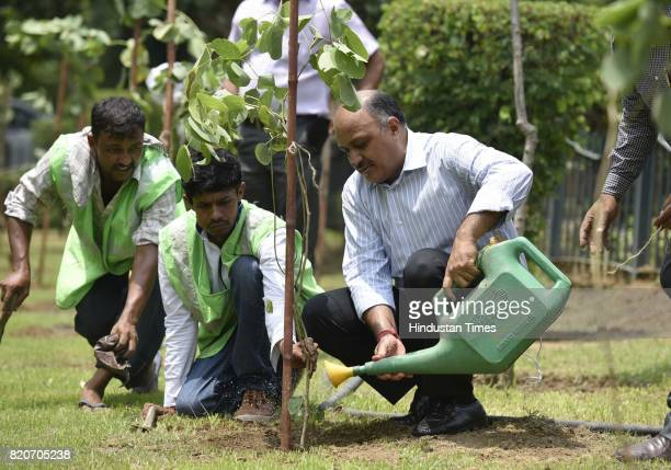 Chairman Naresh Kumar plants a sapling at Ravinder Nagar on July 22 2017 in New Delhi India The New Delhi Municipal Council roped in school children...