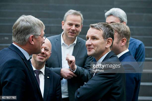Chairman of AfD party in the Thuringian Parliament and Country Representative of Alternative fuer Deutschland Bjoern Hoecke chats with cohead of the...