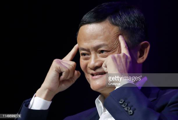 Chairman of Alibaba Group Holding Ltd Jack Ma delivers a speech to participants during the 4th edition of the Viva Technology show at Parc des...