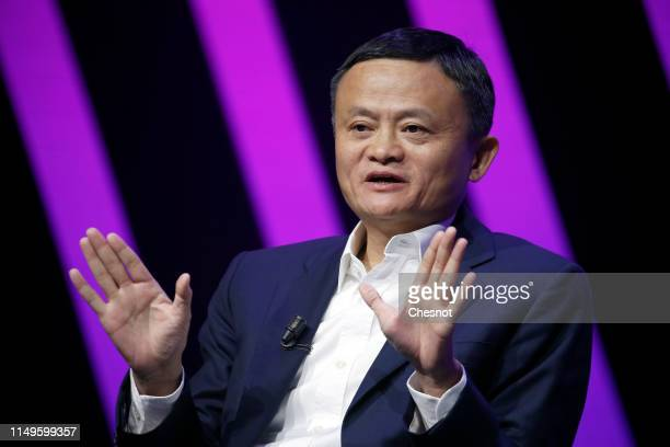 Chairman of Alibaba Group Holding Ltd. Jack Ma delivers a speech to participants during the 4th edition of the Viva Technology show at Parc des...