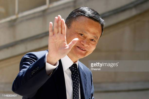 Chairman of Alibaba Group Jack Ma arrives to attend the Tech for Good Summit at Hotel de Marigny on May 15 2019 in Paris France The second edition of...