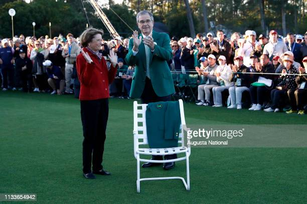 Chairman of Augusta National Golf Club and the Masters Tournament Billy Payne joins patrons in a round of applause as they pay respect to Masters...