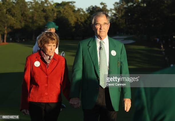 Chairman of Augusta National Golf Club William Porter 'Billy' Payne and Kathleen 'Kit' Palmer take part in the first tee ceremony prior to the first...