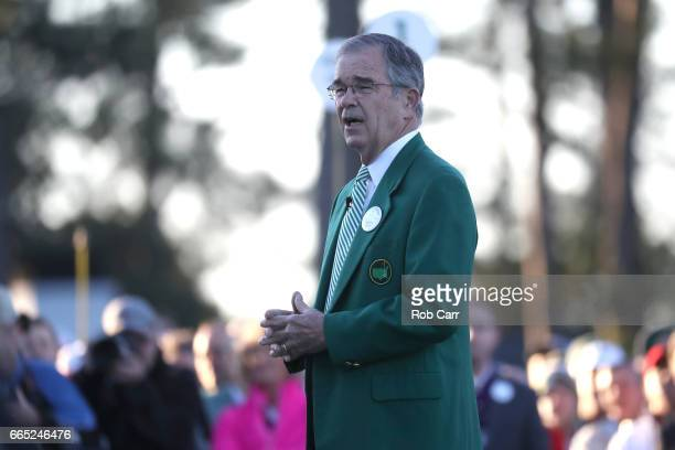 Chairman of Augusta National Golf Club William Porter 'Billy' Payne takes part in the first tee ceremony prior to the first round of the 2017 Masters...