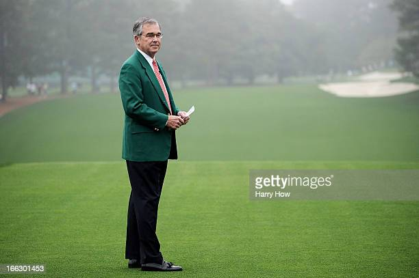 Chairman of Augusta National Golf Club William Porter Payne addresses the patrons before the first round of the 2013 Masters Tournament at Augusta...