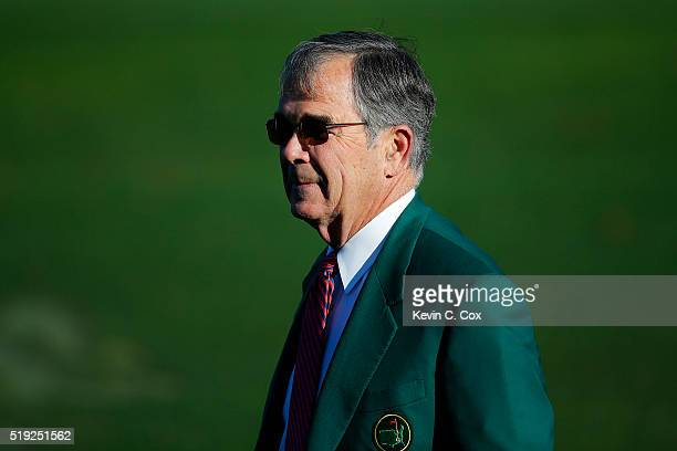 Chairman of Augusta National William Porter Payne looks on during a practice round prior to the start of the 2016 Masters Tournament at Augusta...