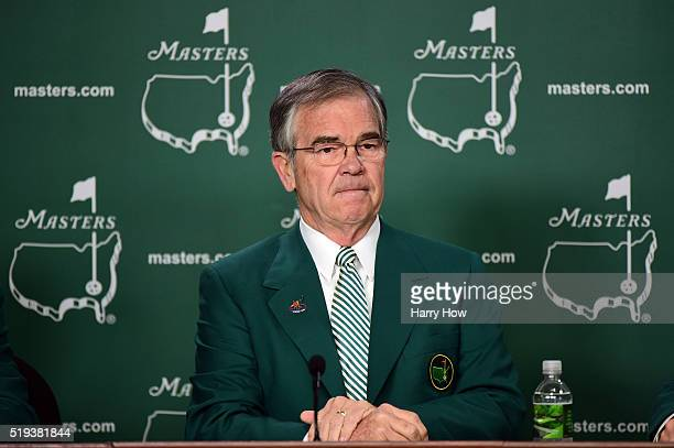 Chairman of Augusta National William Porter Payne speaks to the media during a practice round prior to the start of the 2016 Masters Tournament at...