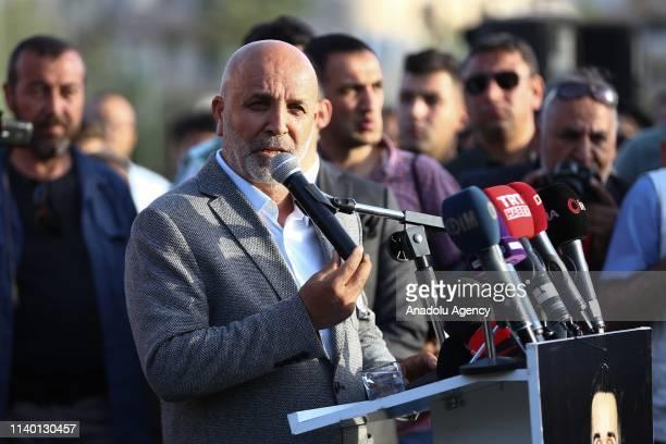 Chairman of Aytemiz Alanyaspor Hasan Cavusoglu delivers a speech during a ceremony held for Czech striker of Turkish football club Alanyaspor Josef...