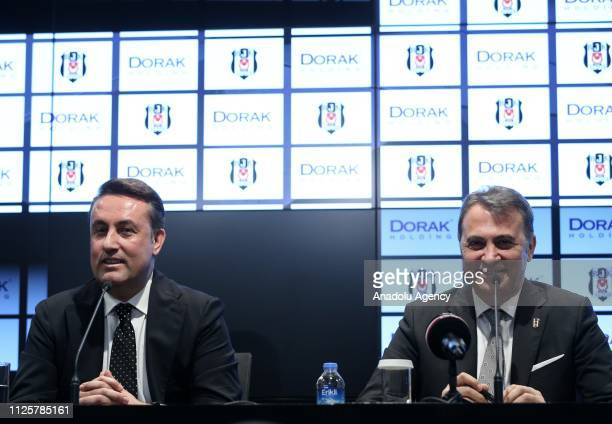 Chairman of Besiktas Fikret Orman and CEO of Dorak Holding Ahmet Serdar Korukcu hold a meeting on the presentation of a cooperation agreement between...