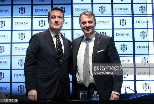 Chairman of Besiktas Fikret Orman and CEO of Dorak Holding Ahmet Serdar Korukcu pose for a photo during the presentation of a cooperation agreement...