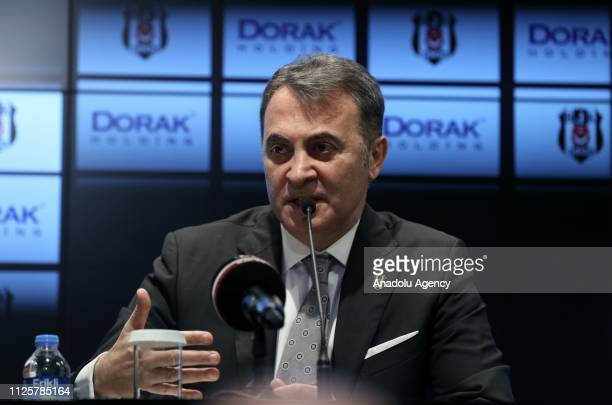 Chairman of Besiktas Fikret Orman speaks during a meeting held with CEO of Dorak Holding Ahmet Serdar Korukcu on the presentation of a cooperation...