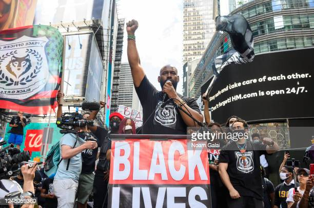 Chairman of BLM Greater NY Hawk Newsome speaks at a Black Lives Matter rally in Times Square on June 07 2020 in New York New York