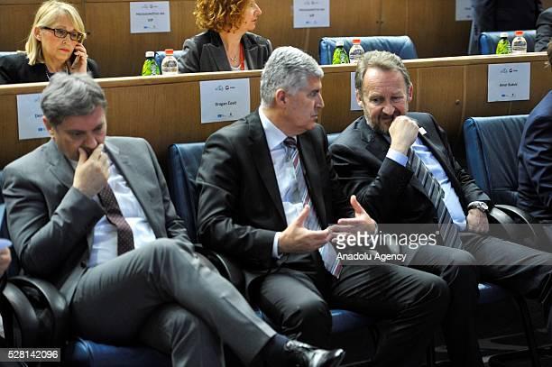 Chairman of Bosnian tripartite Presidency Bakir Izetbegovic Chair of the Presidency of Bosnia and Herzegovina Dragan Covic attend the 7th Sarajevo...