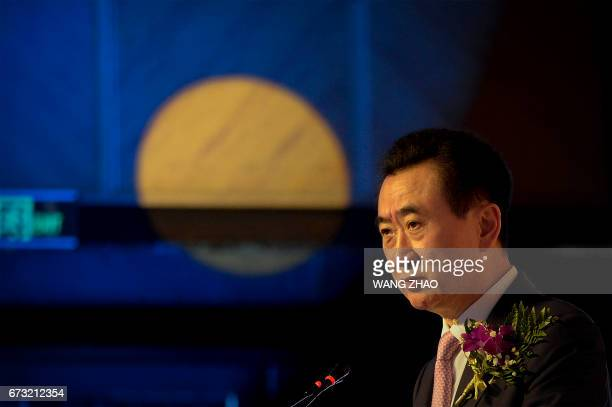 Chairman of China's Wanda Group Wang Jianlin delivers a speech during the Signing Ceremony for the Strategic Partnership between Wanda Group and The...