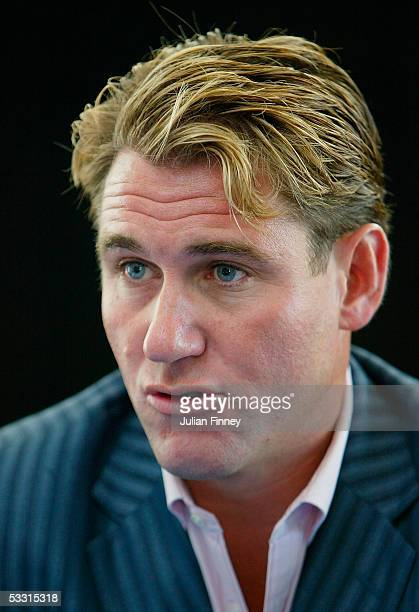 Chairman of Crystal Palace FC, Simon Jordan, talks to the media as Andy Johnson announces he will stay with Crystal Palace after relegation to the...