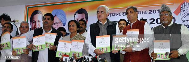 Chairman of election manifesto committee Salman Khursheed and UPCC president Rita Bahuguna Joshi along with senior party leaders releasing the party...