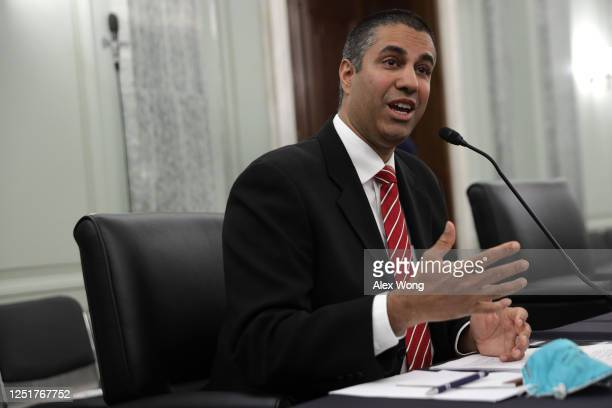 Chairman of Federal Communications Commission Ajit Pai testifies during a hearing before Senate Commerce, Science and Transportation Committee at...