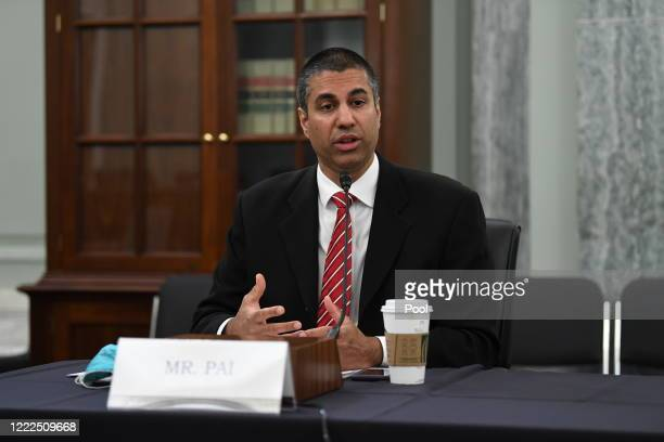 Chairman of Federal Communications Commission Ajit Pai testifies during an oversight hearing to examine the Federal Communications Commission on...