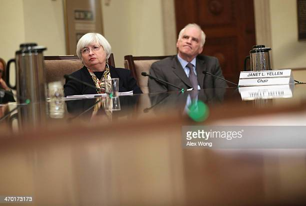 Chairman of Federal Reserve Board Janet Yellen and Federal Reserve Governor Daniel Tarullo during a meeting February 18 2014 in Washington DC The...