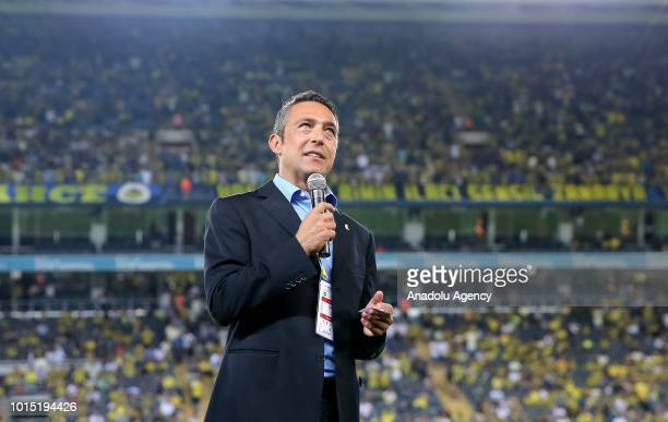 Chairman of Fenerbahce Ali Koc gives a speech after presenting a plaquet to family members of Fenerbahce's legendary football player Lefter...