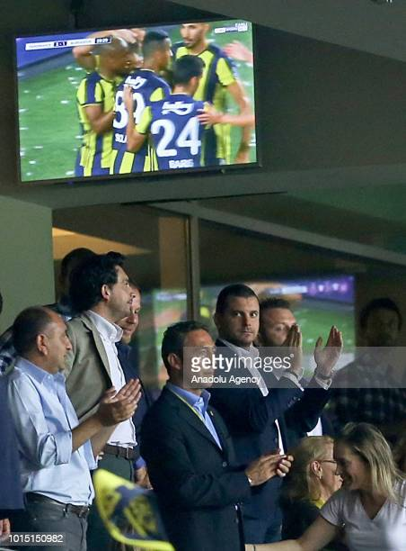 Chairman of Fenerbahce Ali Koc gives applause after the goal of Josef De Souza of Fenerbahce during Turkish Super Lig match between Fenerbahce and...