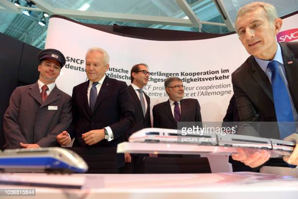 Chairman of German railway company Deutsche Bahn Ag Ruediger Grube German Minister of Transport Alexander Dobrindt French Minister of Transport Alain...