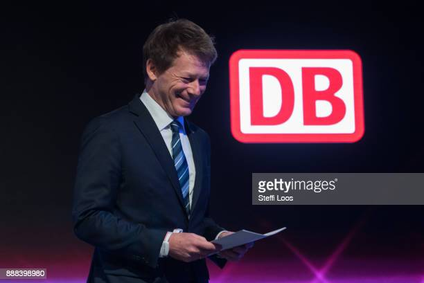 Chairman of German railway operator Deutsche Bahn Richard Lutz holds a speech at the main railway station in Berlin during an inauguration of a new...