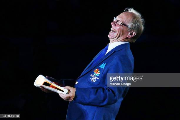 Chairman of Gold Coast 2018 Commonwealth Games Corporation Peter Beattie reacts when handing over the Queens Baton during the Opening Ceremony for...