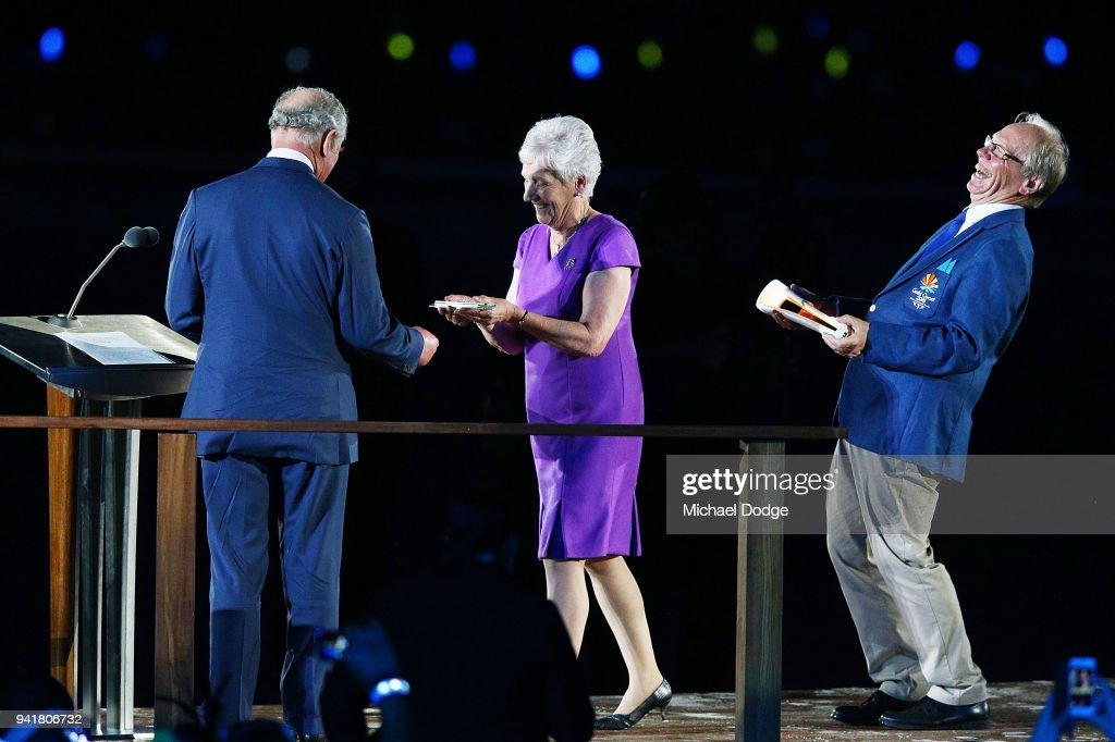 Chairman of Gold Coast 2018 Commonwealth Games Corporation Peter Beattie reacts when handing over the Queens Baton to ;Prince Charles, Prince of Wales during the Opening Ceremony for the Gold Coast 2018 Commonwealth Games at Carrara Stadium on April 4, 2018 on the Gold Coast, Australia.