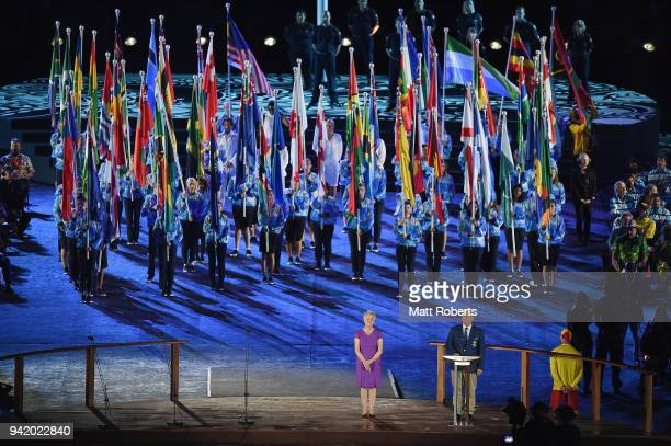 Chairman of Gold Coast 2018 Commonwealth Games Corporation Peter Beattie speaks during the Opening Ceremony for the Gold Coast 2018 Commonwealth...
