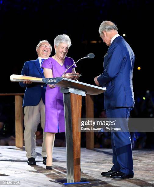 Chairman of Gold Coast 2018 Peter Beattie Louise Martin and The Prince of Wales during the Opening Ceremony for the 2018 Commonwealth Games at the...