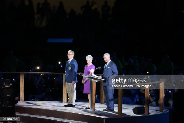 Chairman of Gold Coast 2018 Peter Beattie Louise Martin and the Prince of Wales during the Commonwealth Games opening ceremony at the Carrara Stadium...