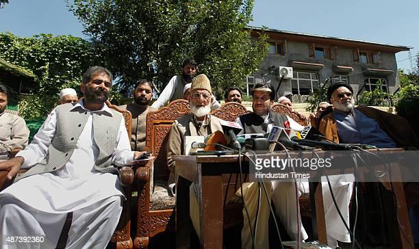 Chairman of hardline faction of Hurriyat Conference Syed Ali Shah Geelani and senior separatist leaders Nayeem Khan Shabir Shah and Shia cleric Aga...