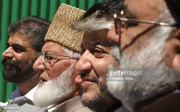 Chairman of hardline faction of Hurriyat Conference Syed Ali Shah Geelani and senior separatist leaders Nayeem Khan Shabir Shah and Shia cleric Aga...