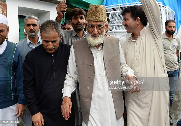 Chairman of hardline faction of the All Parties Hurriyat Conference , Syed Ali Geelani leaves his home in Srinagar on August 26, 2016. Geelani was...