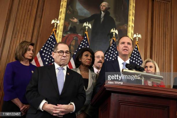 Chairman of House Intelligence Committee Rep Adam Schiff speaks as Speaker of the House Rep Nancy Pelosi Chairman of House Judiciary Committee Rep...