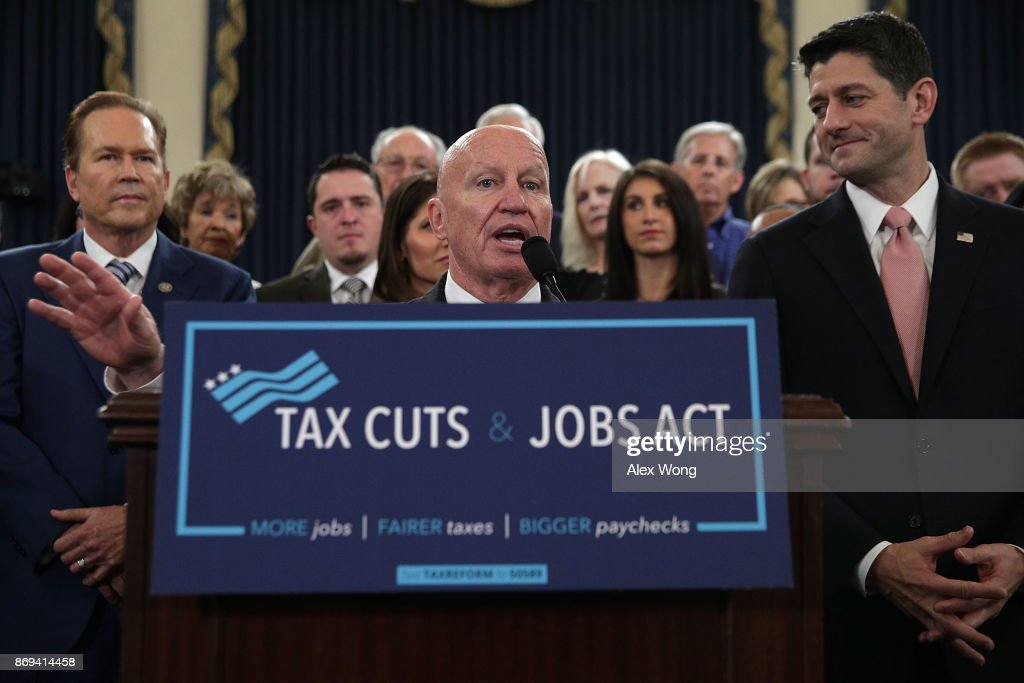 Chairman of House Ways and Means Committee Rep. Kevin Brady (R-TX) (C) speaks as Speaker of the House Rep. Paul Ryan (R-WI) (R), and Rep. Vern Buchanan (R-FL) (L) listen during a news conference on the tax reform legislation November 2, 2017 on Capitol Hill in Washington, DC. House Republicans have unveiled the tax reform legislation today.