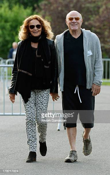 Chairman of IAC/InterActiveCorp Barry Diller and his wife fashion designer Diane von Fürstenberg arrive to attend the morning session of the Allen Co...