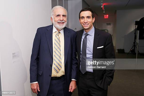 Chairman of Icahn Enterprises Carl Icahn and New York Times financial columnist Andrew Ross Sorkin pose at the New York Times 2015 DealBook...