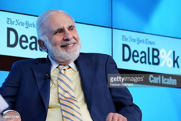 Chairman of Icahn Enterprises Carl Icahn participates in a panel discussion at the New York Times 2015 DealBook Conference at the Whitney Museum of...